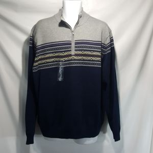 NEW IZOD 1/4 Zip Men's Sweater XL Thunder Navy
